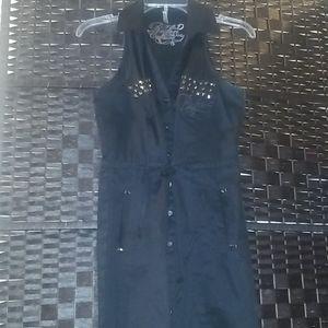 Black Rüfen Studded Shirt Dress